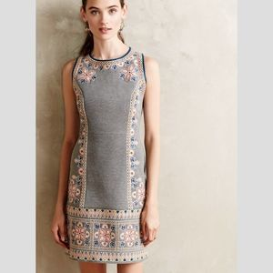 Anthropologie Maeve embroidered dress grey US 0